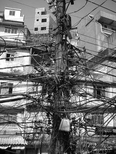 Connected, Rio de Janiero.  electricity, wire, urban, favela, Brazil, South America, electric, city, development,