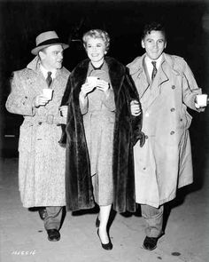 """James Cagney, Doris, and Cameron Mitchell on set during a location shot for """"Love Me And Leave Me"""" 1955."""