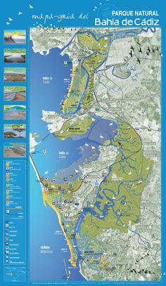 Mapa-guía del Parque Natural Bahía de Cádiz.Spain