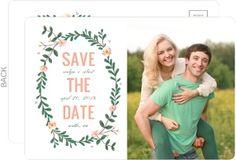 Spring Greenery Wreath Wedding Save The Date Postcard