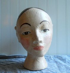Folk art Mannequin head Santos Millinery by hopeandjoystudios