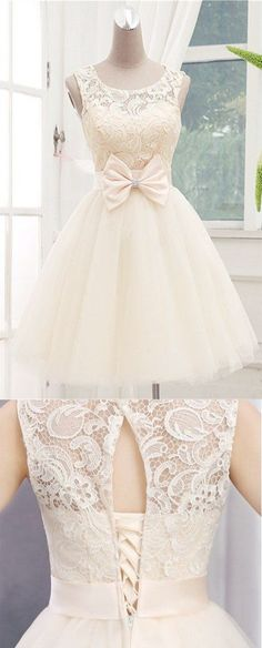 Teen Clothing Homecoming Dress,Lace Homecoming Dresses,Short Prom Gown,Champagne Homecoming Go. Dresses Short, Sweet 16 Dresses, Sweet Dress, Dresses For Teens, Trendy Dresses, Formal Dresses, Elegant Dresses, Dresses Dresses, Backless Dresses