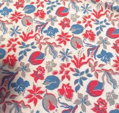 Vintage Feedsack Fabric Novelty 1930's 1940's Red White Blue Quit Patchwork Fat Quarter