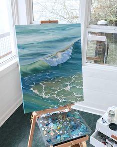New Studio, New Series Seascape Paintings, Watercolor Paintings, Watercolor Artists, Indian Paintings, Acrylic Painting Canvas, Landscape Paintings, Arte Sketchbook, Diy Canvas Art, Ocean Art