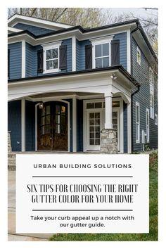Exterior Trim, Exterior House Colors, Exterior Paint, Painting Gutters, Outdoor House Paint, House Gutters, Gutter Colors, White Brick Houses, Roof Colors