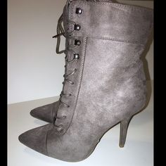 Gray Lace-Up Ankle Boots Size 6 New Windsor gray lace-up boots in a size 6.  Faux suede-like material.  Please comment if you have any questions. Sorry, no trades. Offers considered  WINDSOR Shoes Ankle Boots & Booties