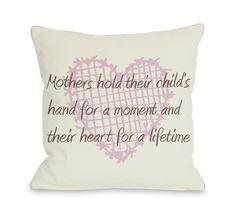 Mothers Hold Hands for a Moment, Hearts Throw Pillow