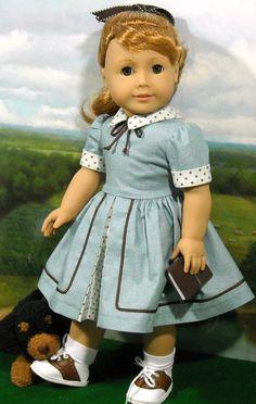 "Aqua and Tan Dress for Maryellen by SugarLoafDollClothes. $52.00 for dress, panties, hair ribbon and ""book""."