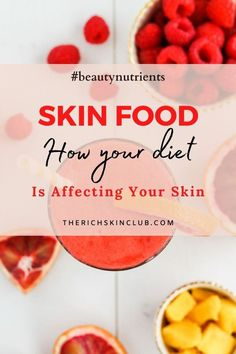 What you eat shows up on your skin —good and bad. Click the pin to learn how your diet may be affecting your skin. Get my favourite Skin Nutrition books to understand the effects that some foods, and (unfortunately alcohol!) are aging your face. #skinfood #skinfooddiet #nutritionforskinhealth