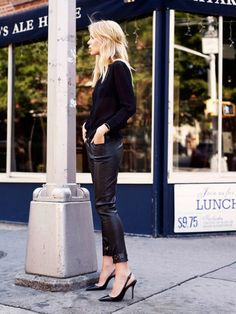 Cute black cardigan and leather pants