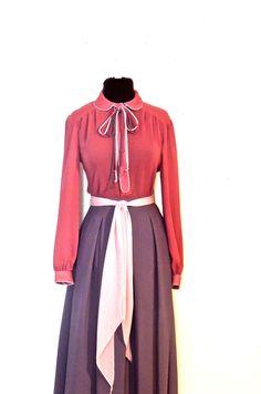 Vintage Kappi silk tie neck shirt dress  https://www.etsy.com/listing/490756003/vintage-pink-purple-skirt-suit-1970s