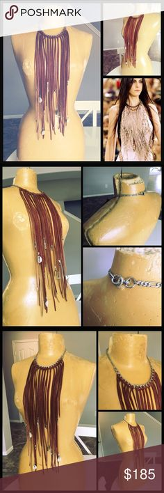 Mangrami🦄 leather tassel and charms necklace bib One of a kind sample piece created per site. Amazing fringe leather bib necklace. All genuine suede leather tassels constructed around plated chain link. Complete with killer embellishment on tassels with tiny kuchi bells, quartz crystals and shells. Versatile and yet the statement piece your wardrobe has been dying for. Dress up jeans and a tee or give a little grit to an elegant slip dress. Spell & The Gypsy Collective Jewelry Necklaces