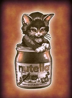 'Kitten Loves Nutella' by Tim Shumate: this artist is amazing!