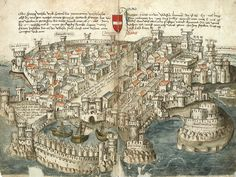Written around 1487, this pilgrimage guide from Constance to Jerusalem depicts several of the cities along the journey, including the port of Rhodes in the Aegean Sea.