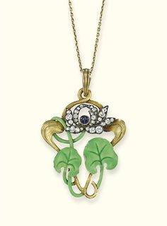 AN ART NOUVEAU DIAMOND AND ENAMEL PENDANT, BY FABERGE