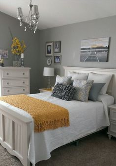 Gray And Yellow Bedroom Bedrooms White Bedding Walls