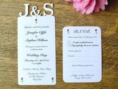 Personalised Wedding Invitations - Personalised Wedding RSVP - Wedding Stationery Set - Ivory - White - Full Matching Set - Rustic - Elegant by CardsbyGaynor on Etsy