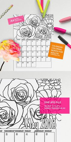 Make your own calendar with this May 2018 Calendar to color page!! #adultcoloring #coloringforadults #coloringpages #adultcoloringpages