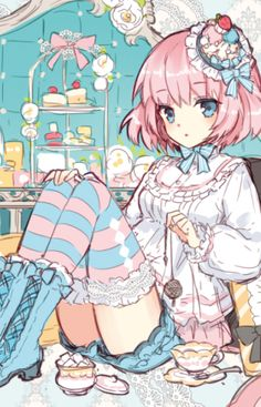 ✮ ANIME ART ✮ anime. . .pastel. . .striped socks. . .frills. . .mini hat. . .pink hair. . .tea party. . .sweets. . .food. . .dessert. . .cute. . .kawaii