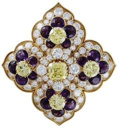 Van Cleef & Arpels Amethyst Diamond Gold Brooch.