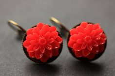 New to StumblingOnSainthood on Etsy: Red Dahlia Flower Earrings. French Hook Earrings. Red Flower Earrings. Lever Back Earrings. Handmade Jewelry. (18.00 USD)