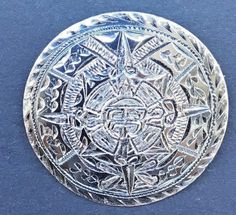 Sterling Silver   Aztec Sun  Calendar  Pendant Brooch Pin Small Mexico Mayan  #Unbranded