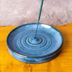 Ceramic Incense Stick Holder / Burner in Blue Incense Stick | Etsy The Potter's Wheel, Incense Holder, Incense Sticks, Different Textures, Ceramic Planters, Stoneware Clay, Safe Food, Ceramics, Ceramic Pots
