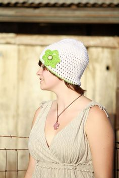 White Beanie with Lime Flower Crocheted Women's by Geminivintagestore, $25.00 #hat #winterhat