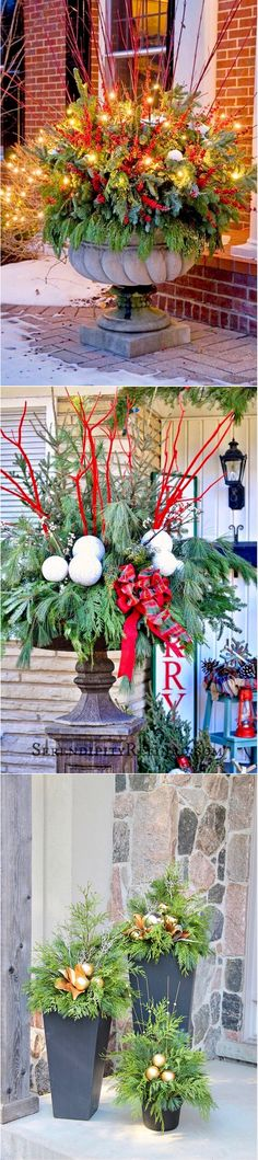 Christmas Front Porch Ideas Using Garden Planters #styleestate