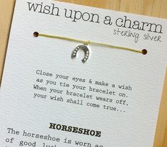 Wish Bracelet - Sterling Silver Horseshoe Charm - Waxed Irish Linen - Choose Your Own Color