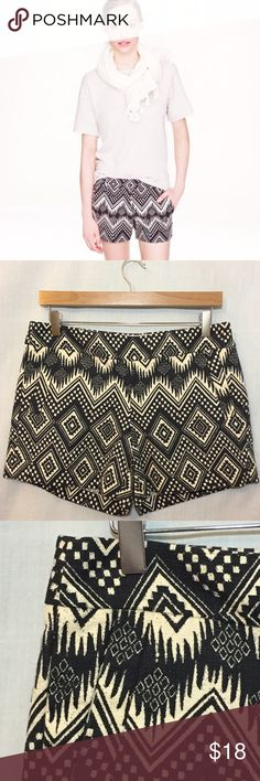 """J. Crew Diamond Ikat Short Cotton Shorts 6 J. Crew Factory Women's Diamond Ikat Short Cotton Shorts Black White  • Size 6 • Side zipper with hook and eye closure • 100% cotton • Front slash & back welt pockets • Measured flat • 15.5"""" waist  • 9"""" rise  • 4.75"""" inseam  • 12.75"""" length • Excellent pre-loved condition, no imperfections, no signs of wear J. Crew Shorts"""