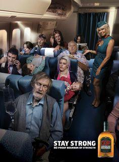 "Bearded Lady Bourbon: The Last Seat, ""Stay strong. 80 proof bourbon of strength"" | Advertising Agency: CumminsRoss, Australia"