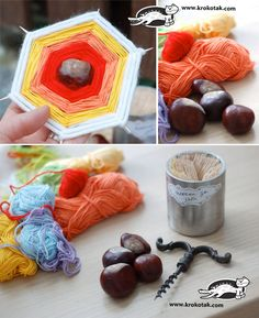 Easy pastime with chestnuts and thread