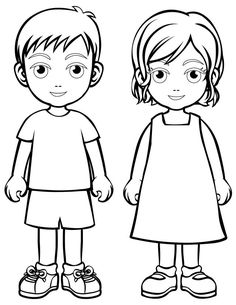 People and places coloring pages: Boy and girl
