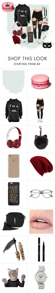 """PURRR..."" by xpandaprincessx ❤ liked on Polyvore featuring H&M, Beats by Dr. Dre, Agent 18, Halogen, Yves Saint Laurent, Sisley and MICHAEL Michael Kors"