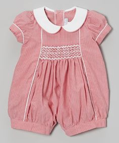 Look at this Pink Seersucker Smocked Romper - Infant on #zulily today!