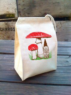 Eco Red Mushrooms Lunch Bag with garden gnome design, Recycled Cotton Canvas Snack sack with rope handle, velcro, and woodland scene