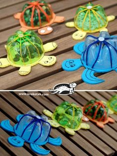 Floating Turtle Family - Made from the bottom portion of a plastic pop bottle