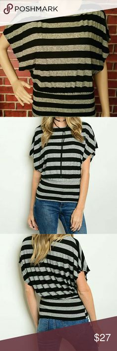 Deal of the DayTrendy Knit Top The price will change back to the original price $24 on February 19. Trendy Knit Top. This cute and trendy knit striped top features a banded hem and short batwing sleeves. Color: Black & Grey. 85% polyester, 15% spandex. Tops