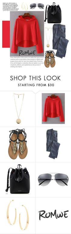 """""""Red Drop Shoulder Seam High Low Hooded Sweatshirt"""" by manuelsbolli ❤ liked on Polyvore featuring Givenchy, Roberto Cavalli, Wrap, Mansur Gavriel and Lana"""