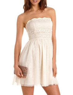 cb5d36f720 Lace Bust Tulle Tube Dress  Charlotte Russe