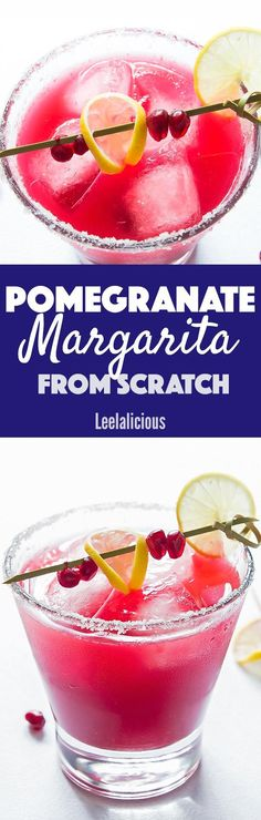 This festive Pomegranate Margarita from scratch is a perfect holiday cocktail! It is made from 5 ingredients - none of which is neon coloured margarita mix. sponsored