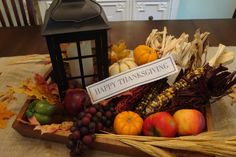 Rustic centerpiece for Thanksgiving table at church.