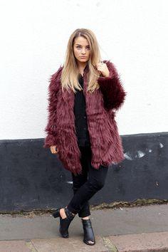 Burgundy faux fur + all black
