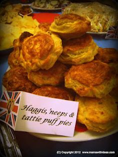 Haggis, 'neeps & tattie mini puff pies... perfect for a British themed Diamond Jubilee Street party or Burns Night celebration!