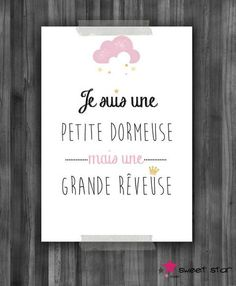 poster for children's room: Child's room, baby by sweet . Zoe S, A4 Poster, French Quotes, Silhouette Portrait, Positive Attitude, Baby Love, The Dreamers, Decoration, Hand Lettering