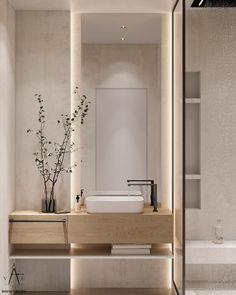 Bathroom Design Luxury, Modern Bathroom Design, Apartment Interior, Apartment Design, Bathroom Design Inspiration, Minimalist Interior, Interior Design Living Room, Behance, Bathroom Lighting