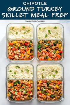 Full of flavor and packed with veggies like kale, jalapeno, onions and peppers, this Chipotle Ground Turkey Skillet Meal Prep is a one-pan make-ahead lunch dream! Serve with rice or keep it low-carb with cauliflower rice! #groundturkey #mealprep