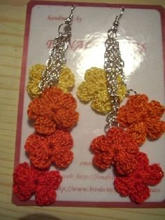 Cercei floricica - crocheted flower earrings