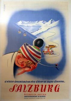 Salzburg Austria Skiing, 1950s - original vintage poster listed on AntikBar.co.uk